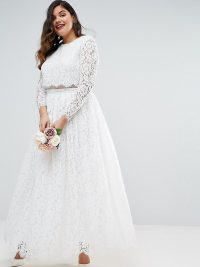 Crop Top Long Lace Sleeve Maxi Dress
