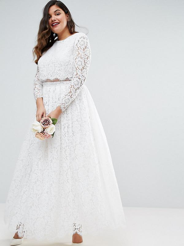 Crop Top Long Lace Sleeve Maxi Dress