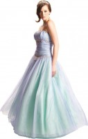 Formal Prom Wedding Gown Under 100 Dollars Embellished With Stones & Layers of Tulle