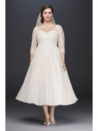 David's Bridal Tulle Tea Length Wedding Gown