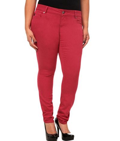 Crimson Color Plus Size Skinny Jeans