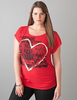 Shirred Graphic Tee Plus Sizes