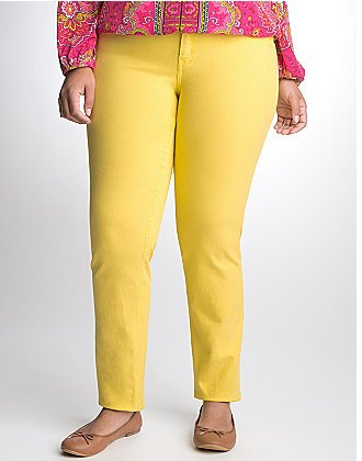 Plus Size Women Yellow Skinny Jeans