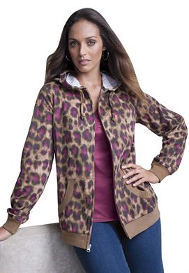 Classic Leopard Print Hoodie in Women Plus Sizes