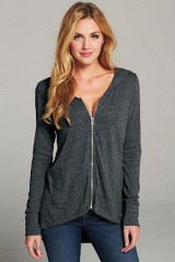 Casual top plus size hooded zip- up