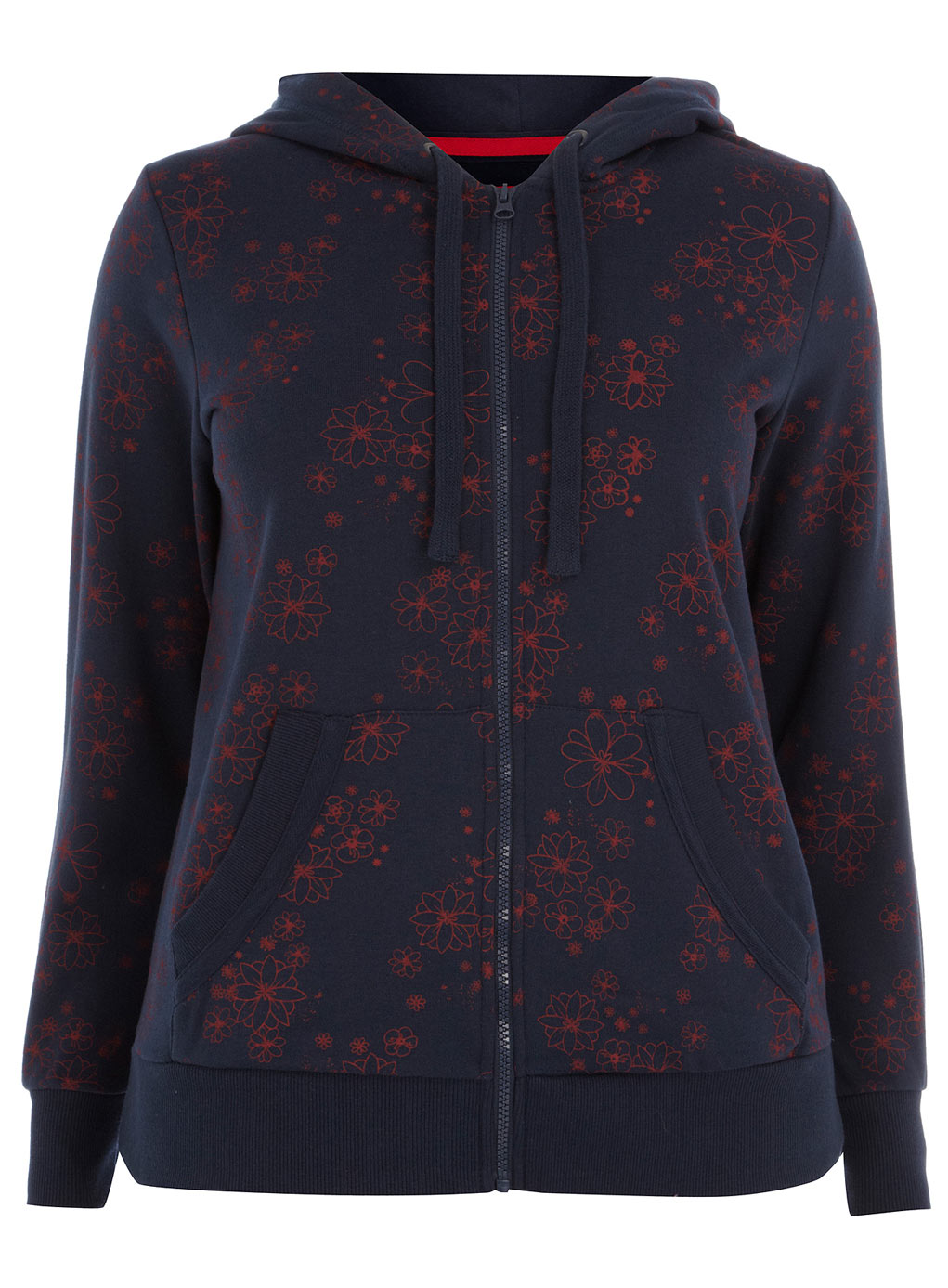 Navy color lace print long sleeve plus size womens hoody