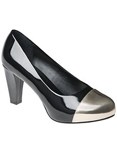 Metallic Cap Toe Pump Black & White