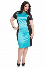 Piped Colorblock Plus Size Dress