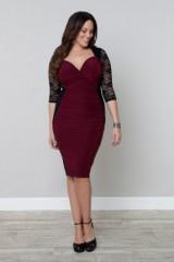 Black Lace Burgundy Fabric Colorblock dress