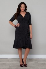 Wrap polka dot dress for casual evening wear