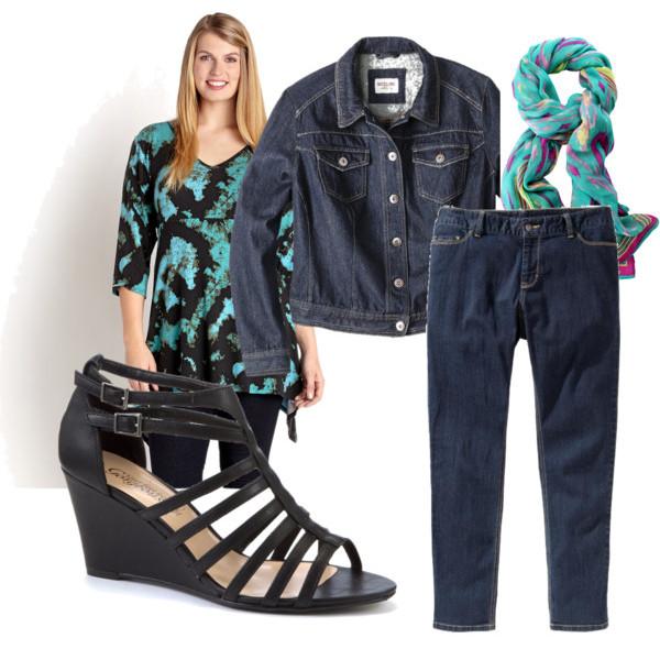 Tie Dye Top Ensemble With Skinny Jeans and Jacket inn Women Plus Sizes