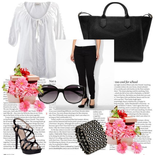 plus size womens summer ensemble in black and white