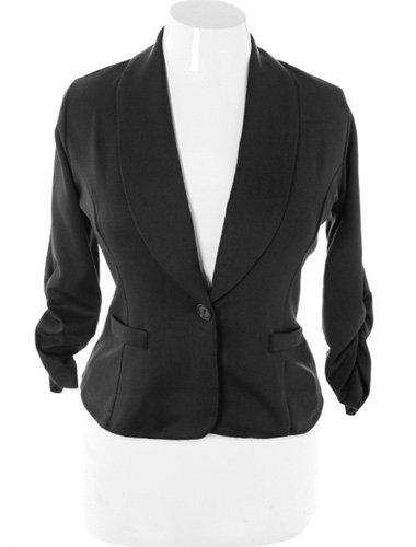 Shawl Collar Scrunch Sleeve Black Blazer