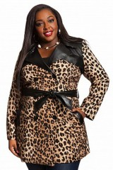 Women Plus Sizes Cheetah Print Trench Coat