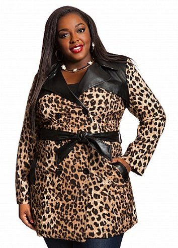 Cheetah Print Trench Coat In Plus Sizes