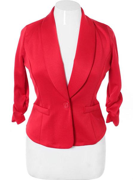 Cherry Red Plus Size Blazer