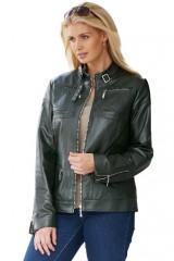 Zip trim plus size women jacket in three colors