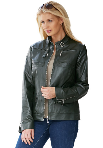 Women Moto Leather Jacket In three neutral colors