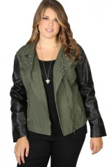 Urban moto jacket with studded collar and leather sleevs