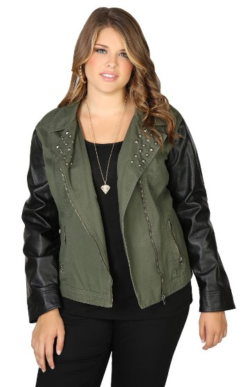 Moto Jacket With Leather Sleeves & Studded Collar Women Plus Sizes