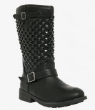 Embellished black boots in wide width