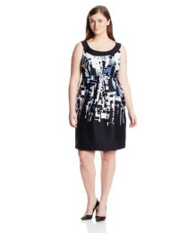 Plus-Size Sleeveless Printed Shift Dress