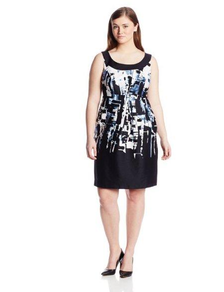 Plus-Size Sleeveless Printed Shift Dress