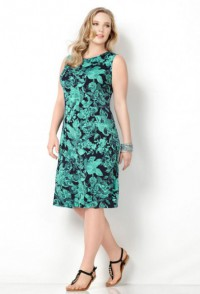 Digital Floral Shift Dress in Women Plus Sizes