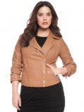 Quilted Sleeve Moto Jacket Women Plus Sizes