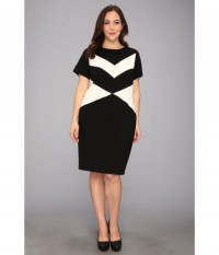 Vince Camuto Plus Plus Size Cap Sleeve Chevron Shift Dress