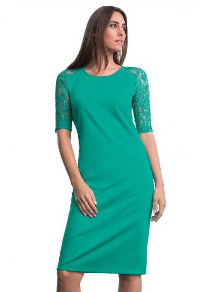 Women Plus Size Lace Sleeve Shift Dress in Jade Sea Color