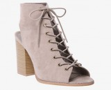 Open toe lace up block heel bootie in wide width