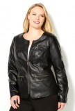 Plus size women perforated moto jacket
