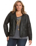Faux leather womens plus size seamed moto jacket