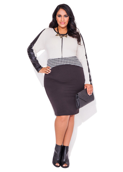 Colorblock black leather skirt ensemble women plus sizes