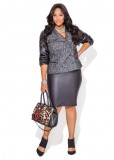 Plus size black leather skirt paired with trimmed moto jacket