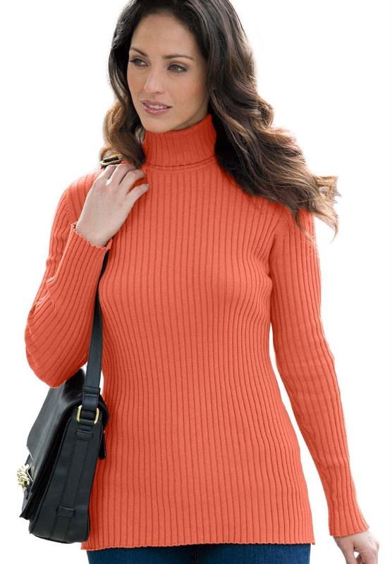 Plus Size Orange Turtleneck Sweater Forzanathandedecker