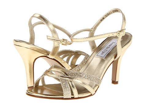 Touch Ups Taryn is wide width prom sandal in gold or silver