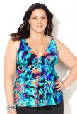 Abstract Tiered Swim Top