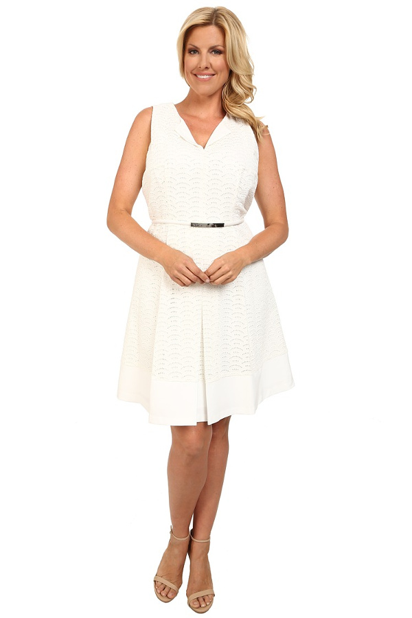 Sweet Spring Dress # 1 Calvin Klein Plus- Plus Size Scalope Eyelet Dress