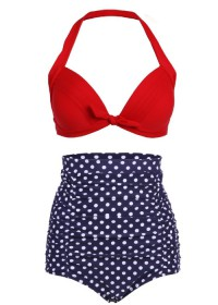Cocoship Polka Dot Vintage High Waisted Bikini Swimsuits