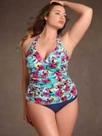 Women's Plus Size Floral Print Shirred Halter Tankini