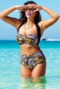Sexy Python Bandeau Halter Bikini Top