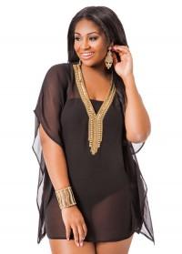 women's plus sizes Jewel Neck Cover Up