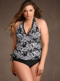 Women's Plus Size Halter Paisley Tankini Ruched Sides Black White