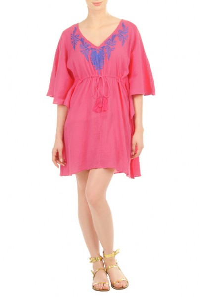 Womens PLus Sizes Embellished crinkle gauze caftan dress