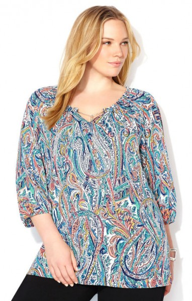 Paisely Peasant Top Women Plus Sizes