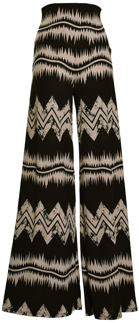 ViV Collection Women's Chevron Aztec Tribal Pattern Printed Long Palazzo Pants
