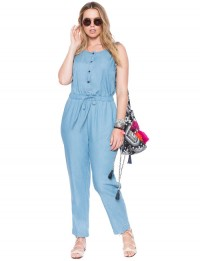Lightwash denim jumpsuit in women plus sizes 14- 24