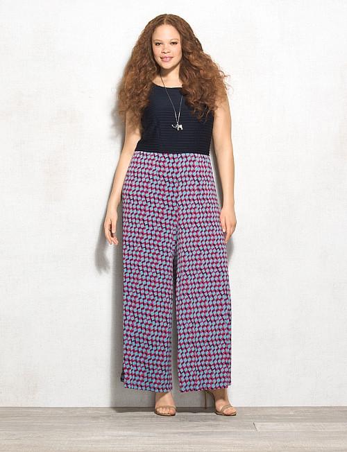 Womens Plus Sizes Textured Geometric Jumpsuit